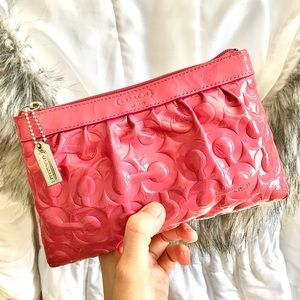 COACH⚡️Pink Pattern Leather Large Wristlet/Clutch